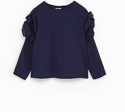 Zara Girls Blouse with Long Ruffled Sleeves Navy Blue Size 10/140cm NWT