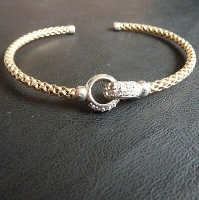 Sterling Silver Gold Plated Bangle with CZs (One Missing) 17cm 6.4g