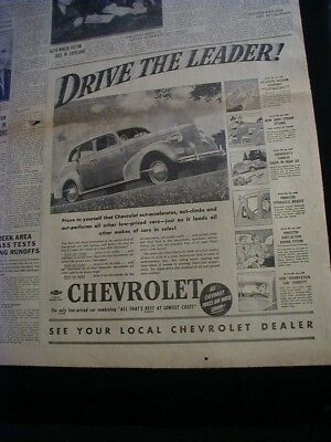 1939 chevrolet newspaper ad opposite page oldsmobile car paper clipping