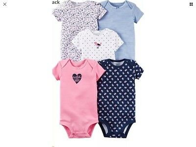 """NWT CARTER'S Baby Girl Bodysuits """" Wild About Daddy"""" 5 Piece - Sz 9 Months"""