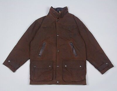 Barbour Men's A1551 Bushman Lining Waxed Coat Jacket S M Rare Fishing Hunting