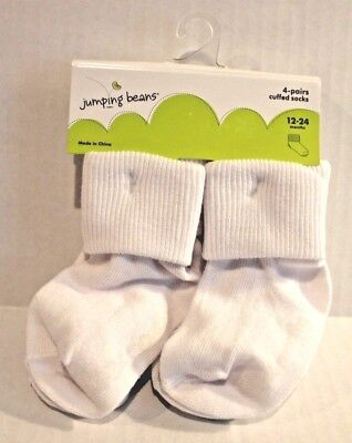 Jumping Beans Infant Baby Boy 12-24 Months 4-Pairs Solid White Cuffed Socks