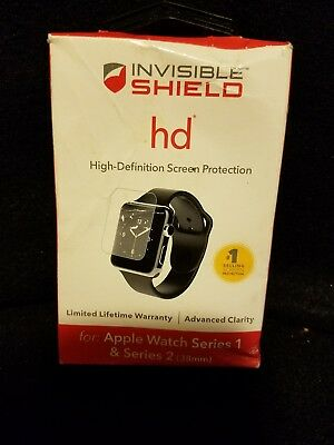 New Zagg Shield HD Clear Screen Protection for Apple Watch Series 1 & 2 38mm