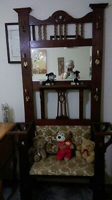 Decorated Wood Silky Oak Hallstand, Brass  Hooks, Umbrella Stand, Padded Seat,
