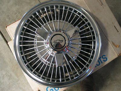 """1966 Nos 13"""" Corvair Wire Hubcaps With 3-Bar Spinners"""