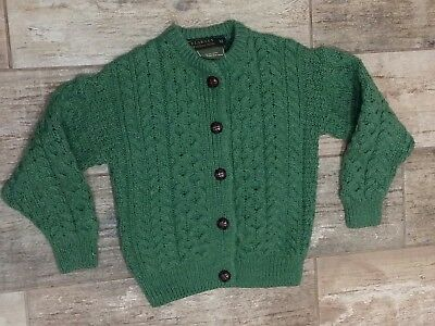 Blarney Woolen Mills Kids Green 100% Pure New Wool Cable knit Sweater Size M