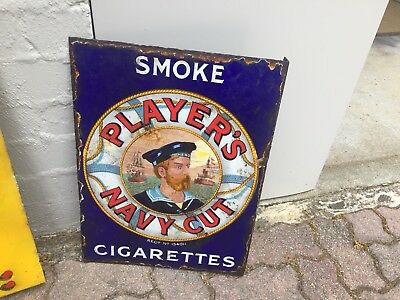 1920's Enamel Sign Players Navy Cut Sign Double Sided