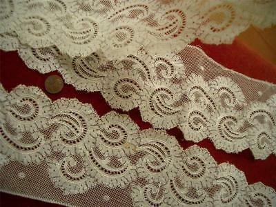 """SALVAGED WIDE ORNATE SCALLOPED 60"""" Antique VTG VALENCIENNES LACE FLOUNCE *DOLLS"""