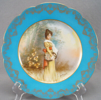 Ahrenfeldt Limoges Pseudo Sevres Royal Vienna Girl With Apples Plate Circa 1900