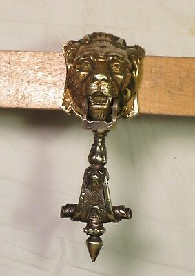 Early Antique Ornate Small Solid Brass Lion Head Door Knocker draw cabinet pull