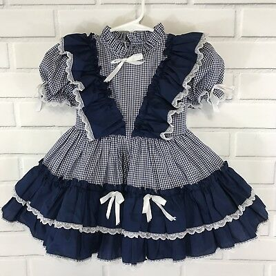 Vintage Toddler Dress Gingham Blue White Diaper Cover A Ginger Goody Size T 4
