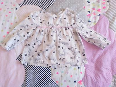 * COUNTRY ROAD * Sz 0 6-12 months cloud print long sl cotton smock top!