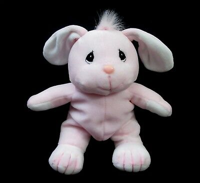 "Precious Moments TENDER TAILS 8"" Pink Bunny Rabbit Bean Plush Animal 1997 Enesco"