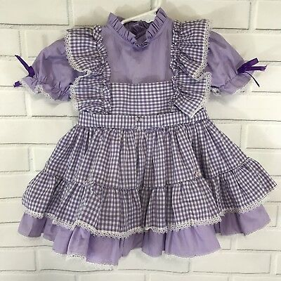 Vintage Toddler Dress Gingham Purple White Diaper Cover A Ginger Goody Size T 4