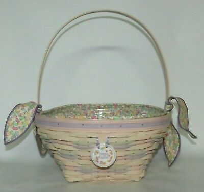 Longaberger 2000 Large Whitewashed Easter Basket Combo with Jelly Bean Liner