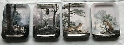 Complete Plate Set of 4 NATURE'S HARMONY Daniel Smilth Wolves Eagle Cougar