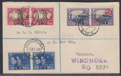 B180201 PLATE FLAW = PROJECTION on MOUNTAIN row 1-2 South West Africa 1945 cover