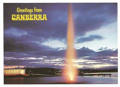 ACT - c1980s POSTCARD - THE CAPTAIN COOK MEMORIAL JET AT DUSK, CANBERRA, ACT