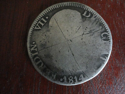 1814 8 Reales Zs Zacatecas Silver Coin Spanish Mill Dollar Independence War Rare