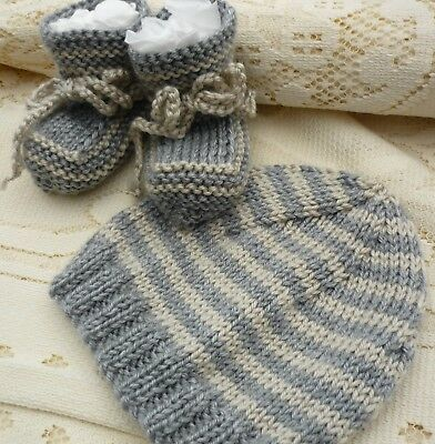 Baby Beanie & Booties Set. Grey & Beige. Hand-Knitted By Me. Soft! Boy/girl Baby
