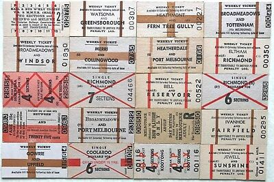 VR Tickets - 20 x various Melbourne Suburban tickets
