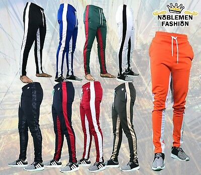 Men Hipster  Techno Track  Pants  With Side Color Striped Pants