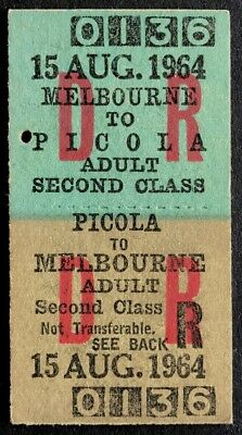 VR (ARHS) Tour Ticket - Melbourne to PICOLA - 2nd Class Return - 15 AUG 1964