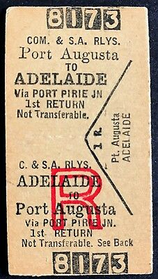 Commonwealth & SA Railways Ticket - PORT AUGUSTA to Adelaide - First Class Rtn
