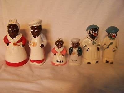 Vintage Retro Salt & Pepper Shakers Mammy & Pappy African Black Americana