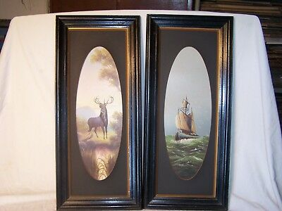 Vintage Antique Picture Pictures Paintings Prints Wooden Timber Frames Boat Deer