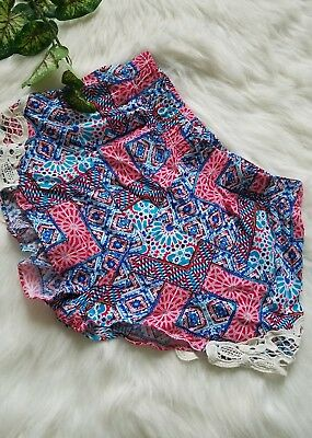 No Boundaries junior girls size small 3-5 patchwork red blue mini shorts