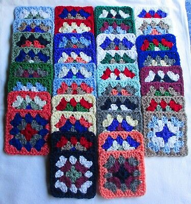 36 Colourful Hand-Crocheted Granny Squares - Lot 2