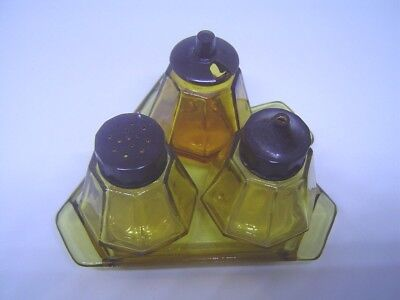 Very Nice Vintage 4 Piece Amber Glass Condiment Set