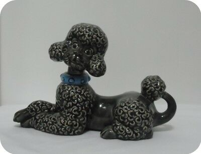 Vintage Black Porcelain Poodle Dog Figurine Beautiful Design Atlantic Mold