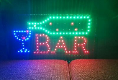 Flashing LED Sign BAR 48x25 cm Shop Signboard Logo Light. P/up narre warren/post