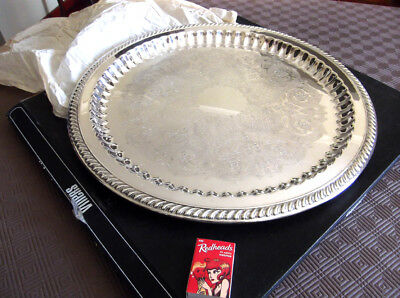 Large Boxed Vintage Genuine Viners Silverplate Tray Ornate, Shiny & as New 42 cm