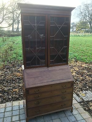 Superb Antique Inlaiid Edwardian Mahogany Bureau Bookcase Satinwood Drawers