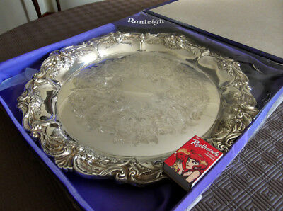 Large Boxed Vintage Ranleigh Silverplate Tray Ornate, Shiny & as New 36 cm