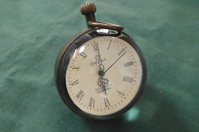 """Round glass clock - Marked """"Omega - Switzerland - Made in 1882"""" Not working"""