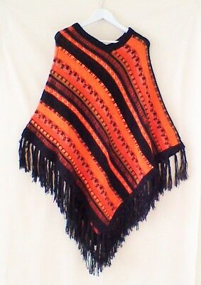 Vintage 1960's -70's  Knitted  Wool  Poncho/ Shawl- freesize- machine knit