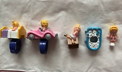 Original And RARE 1989 Vintage Polly Pocket Rings with 1989 figures
