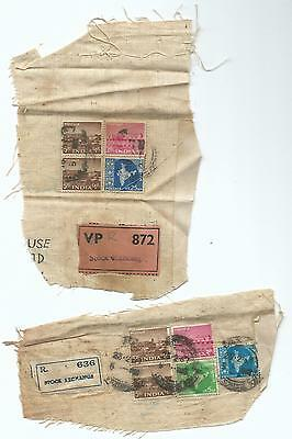 2 Registered Stock Exchange Labels on  Cloth Pieces with Stamps Unusual