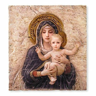 Madonna with Child Christ Icon 10 Inch Painted Resin Wall Plaque