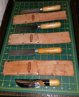LOT of 3 HYDE TOOLS HOLLOW GROUND SQUARE POINT KNIFE BG142 & Leather Cases USED
