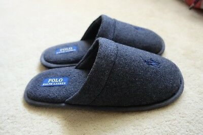 BNWT Men's Polo Ralph Lauren RL Slippers US7 Grey Sunday Scuff RRP $49.95