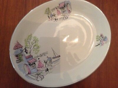 Vintage Mid Century Alfred Meakin Oval Serving Platter -Down by tbe Seine - Rare