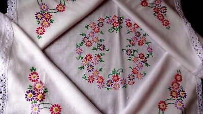 VINTAGE HAND EMBROIDERED tablecloth~ Exquisite embroidery pastel shades raised