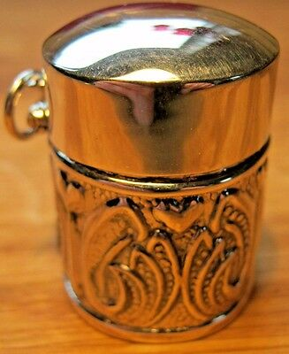Arts Crafts Heart Tulip Style Sterling Silver Thimble Case Box Holder Chatelaine