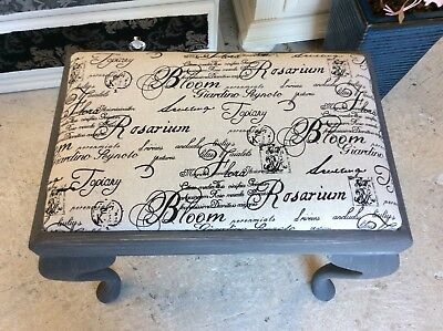 Upcycled Vintage Queen Anne Piano Stool With Reupholstered French Linen Fabric