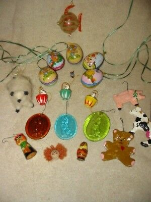vintage farm animal lot tin wood bunnies glass fish some folk art cow ornaments